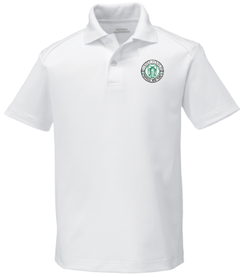Youth White Performance Short Sleeve Polo