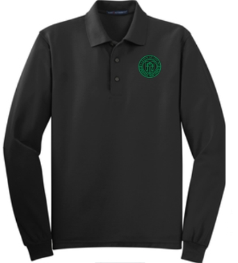 Adult Men's Black Long Sleeve Polo