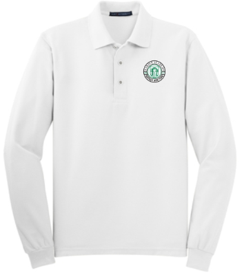 Adult Men's White Long Sleeve Polo