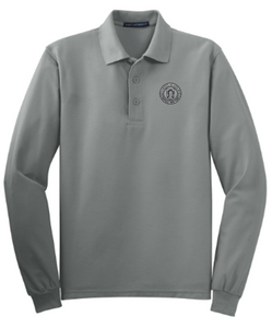 Adult Men's Grey Long Sleeve Polo