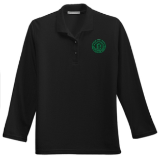 Adult Women's Black Long Sleeve Polo