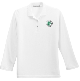 Adult Women's White Long Sleeve Polo