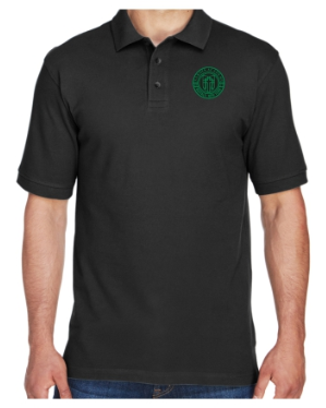 Adult Men's Black Cotton Short Sleeve Polo