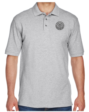 Adult Men's Grey Heather Cotton Short Sleeve Polo
