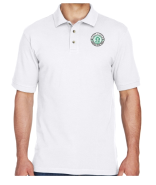 Adult Men's White Cotton Short Sleeve Polo