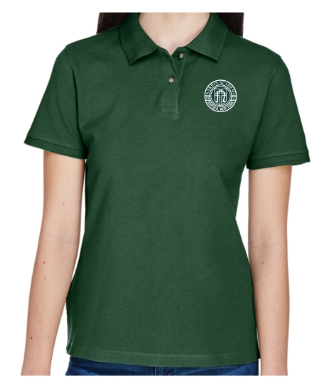 Adult Women's Hunter Green Cotton Short Sleeve Polo