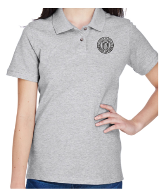 Adult Women's Grey Heather Cotton Short Sleeve Polo