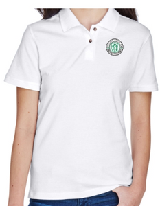 Adult Women's White Cotton Short Sleeve Polo