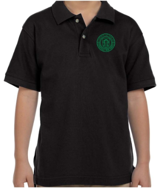 Youth Black Cotton Short Sleeve Polo