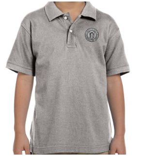 Youth Grey Heather Cotton Short Sleeve Polo