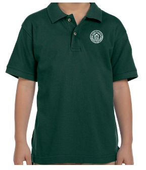 Youth Hunter Green Cotton Short Sleeve Polo