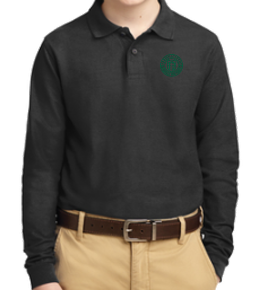 Youth Black Long Sleeve Polo