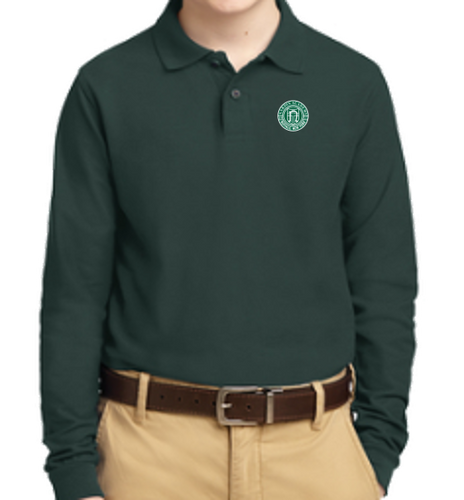 Youth Dark Green Long Sleeve Polo