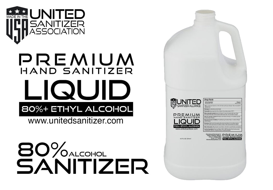 1 Gallon Liquid  (80% ethyl alcohol) Hand & Surface Sanitizer
