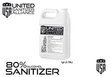 Load image into Gallery viewer, 4 Pack of 1 Gallon Liquid  (80% ethyl alcohol) Hand & Surface Sanitizer