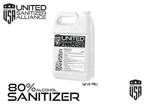 4 Pack of 1 Gallon Liquid  (80% ethyl alcohol) Hand & Surface Sanitizer