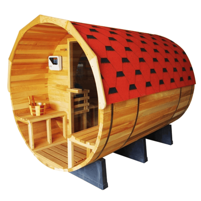 Outdoor or Indoor Pine Barrel Sauna with Panoramic View - 7 Person - Front Porch Canopy - 9 kW ETL-Certified Heater - Kaso Saunas