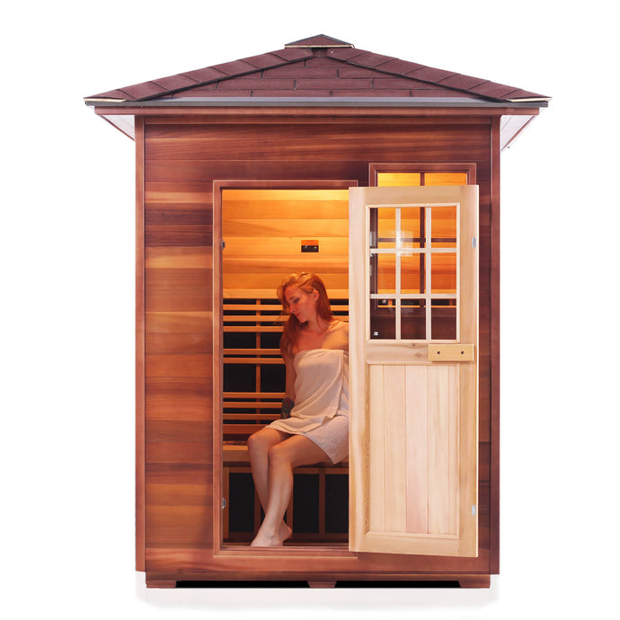 Enlighten SIERRA - 3 Person<br>Full Spectrum Infrared Peak Sauna - Kaso Saunas