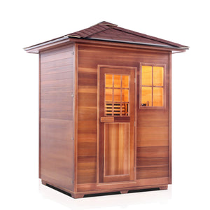 Enlighten RUSTIC - 3 Person Peak Full Spectrum Infrared Sauna - Kaso Saunas