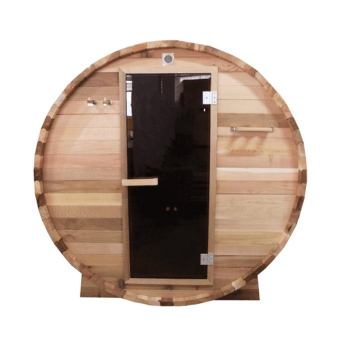 Outdoor or Indoor Rustic Western Red Cedar Wet Dry Barrel Sauna - 6kW ETL Certified Heater - 6 person - Kaso Saunas