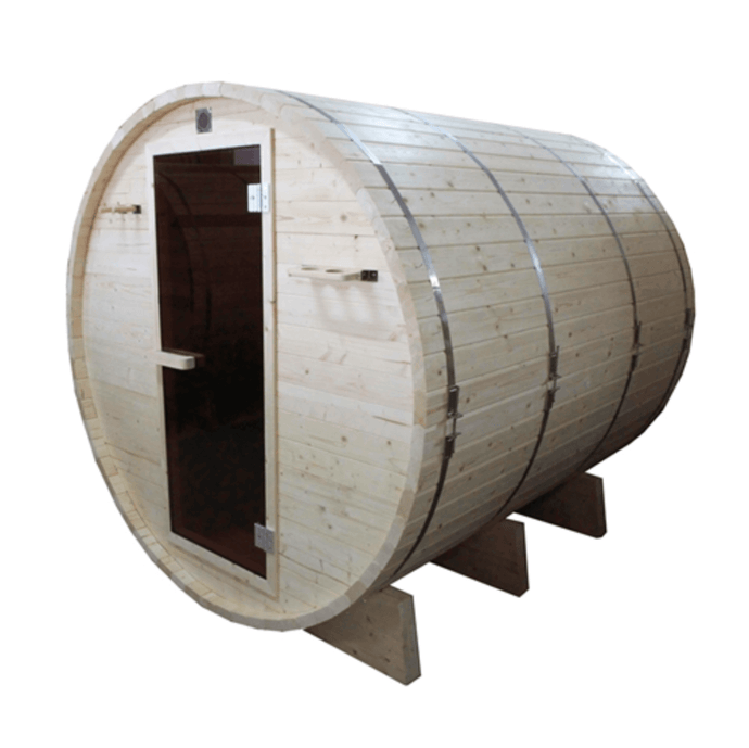 Outdoor or Indoor White Pine Wet Dry Barrel Sauna - 6 kW ETL Certified Heater - 6 Person - Kaso Saunas