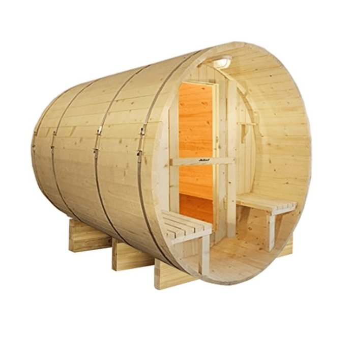 Outdoor or Indoor White Finland Pine Wet Dry Barrel Sauna - Front Porch Canopy - 9 kW ETL Certified Heater - 8 Person - Kaso Saunas