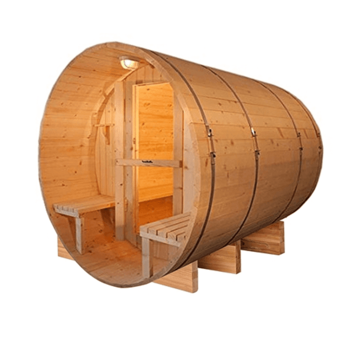 Outdoor or Indoor Western Red Cedar Wet Dry Barrel Sauna - Front Porch Canopy - 9 kW ETL Certified Heater - 8 Person - Kaso Saunas