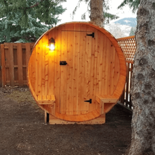 Load image into Gallery viewer, Outdoor and Indoor Western Red Cedar Barrel Sauna with Front Porch Canopy - 4.5 kW ETL Certified - 5 Person - Kaso Saunas