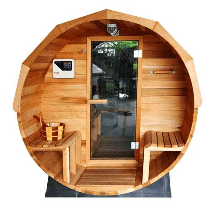 Pine Barrel Sauna with Panoramic View - 4.5 kW ETL Certified - 5 Person - Kaso Saunas
