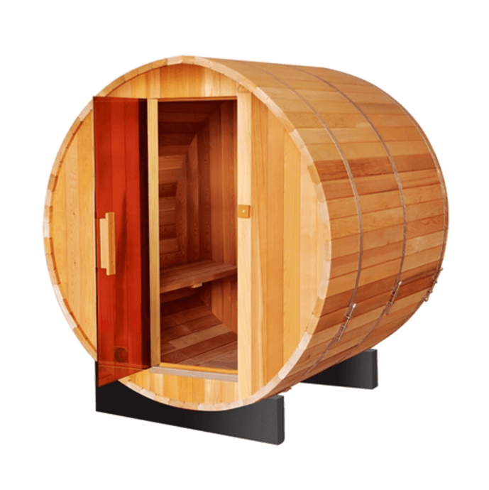 Outdoor and Indoor Rustic Western Red Cedar Barrel Sauna - ETL Certified Heater - 4 Person - Kaso Saunas