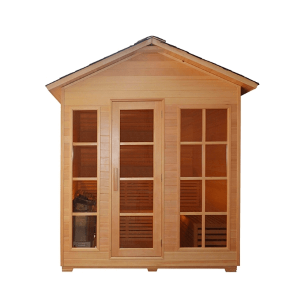 4 Person Canadian Red Cedar Wood Outdoor and Indoor Wet Dry Sauna with 4.5 kW ETL Electrical Heater - Kaso Saunas