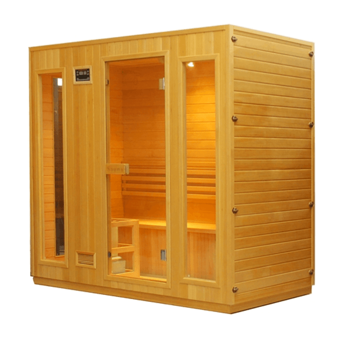 Canadian Hemlock Indoor Wet Dry Sauna - 4.5 kW ETL Certified Heater - 4 to 5 Person - Kaso Saunas