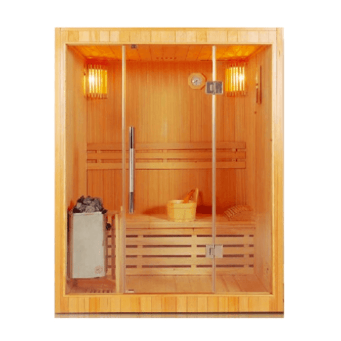 Canadian Red Cedar Indoor Wet Dry Sauna - 3 kW ETL Certified Heater - 3 Person - Kaso Saunas