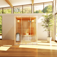 Load image into Gallery viewer, Canadian Hemlock Indoor Wet Dry Sauna - 3 kW ETL Certified Heater - 3 Person - Kaso Saunas