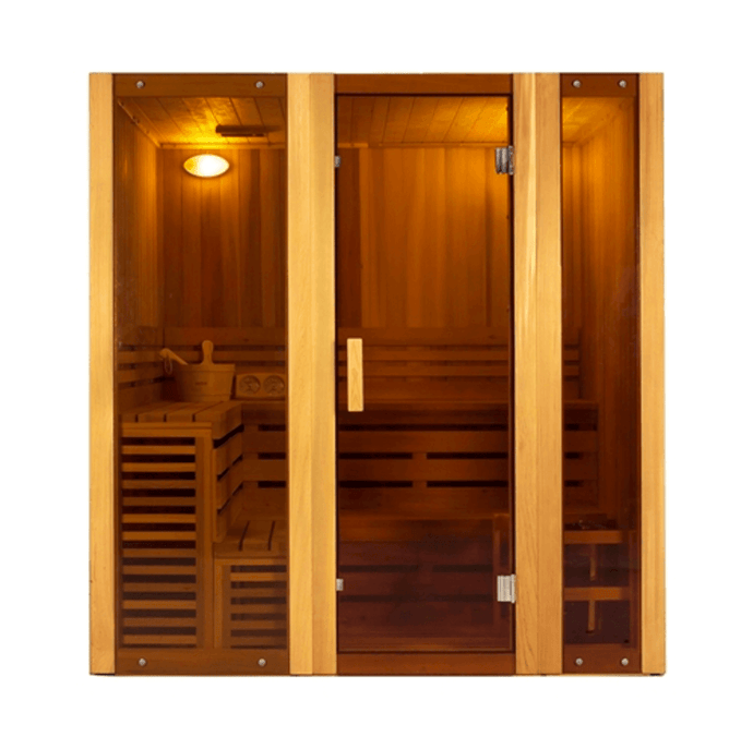 Canadian Cedar Indoor Wet Dry Sauna Steam Room - 3 kW ETL Certified Heater - 3 Person - Kaso Saunas