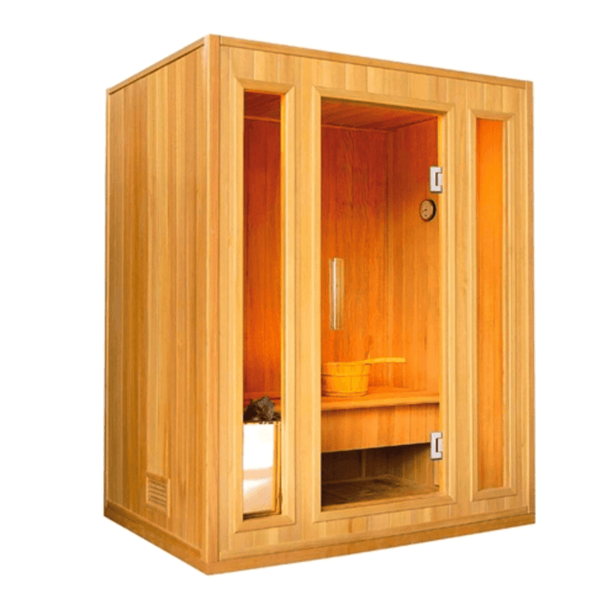 Canadian Hemlock Indoor Wet Dry Sauna - 3 kW ETL Certified Heater - 3 Person - Kaso Saunas