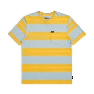 Brixton Hilt S/S Pocket Tee - Gold/Light Blue