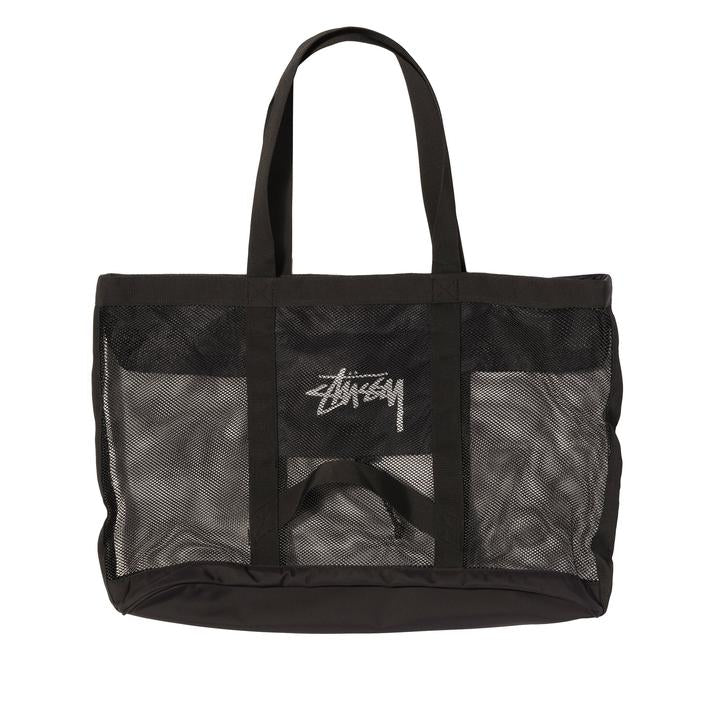 Stussy Mesh Beach Tote Bag - Black