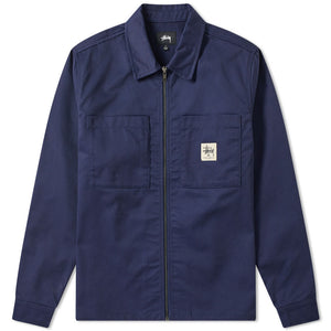 Stussy Poly Cotton Zip Up - Navy