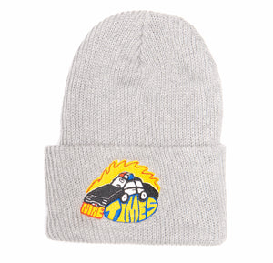 Ninetimes Embroidered Fast Car Beanie - Grey