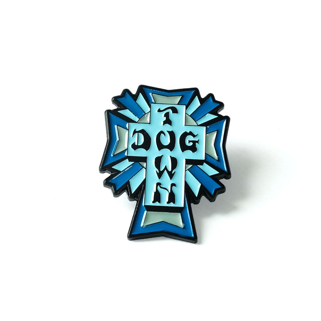 Dogtown Color Logo Cross Enamel Pin - Blue