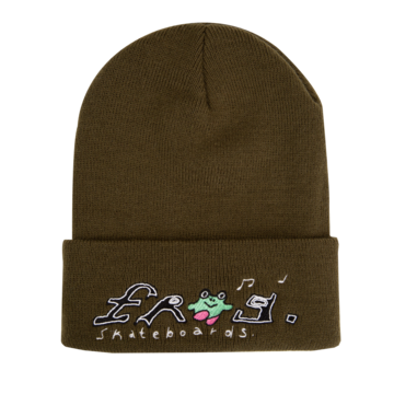 Frog Happy Dirty Beanie - Olive