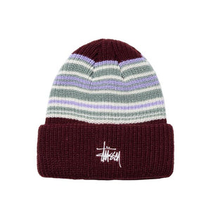 Stussy Striped Cuff Beanie - Burgundy