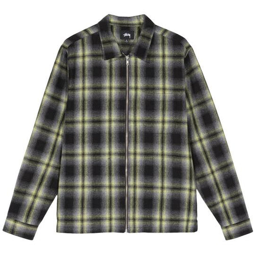 Stussy Gunn Plaid Zip Up LS Shirt - Black