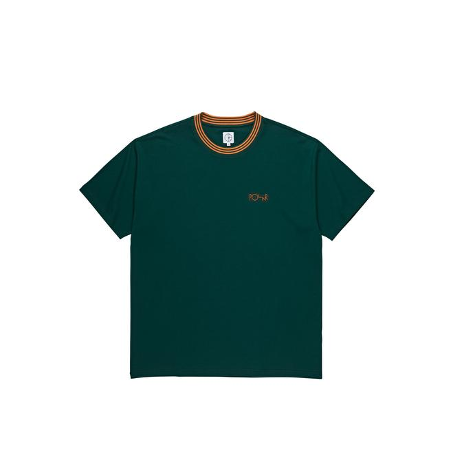 Polar Striped Rib Tee - Dark Green/Orange