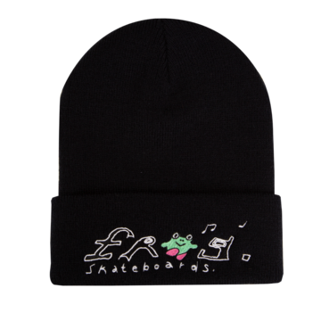 Frog Happy Dirty Beanie - Black