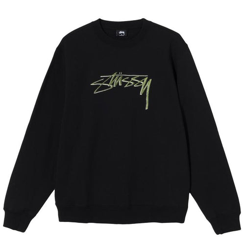 Stussy Smooth Stock Embroidered Crew - Black
