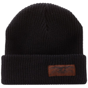 Antihero Stock Eagle Label Cuff Beanie -Black/Brown