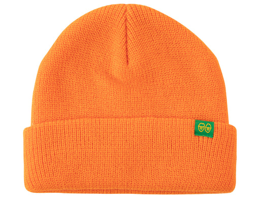 Krooked Eyes Clip Cuff Beanie - Orange/Green