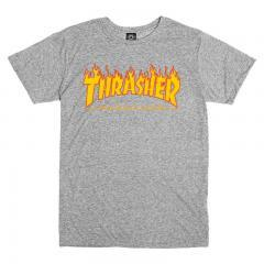 Thrasher Flame Logo Tee - Grey